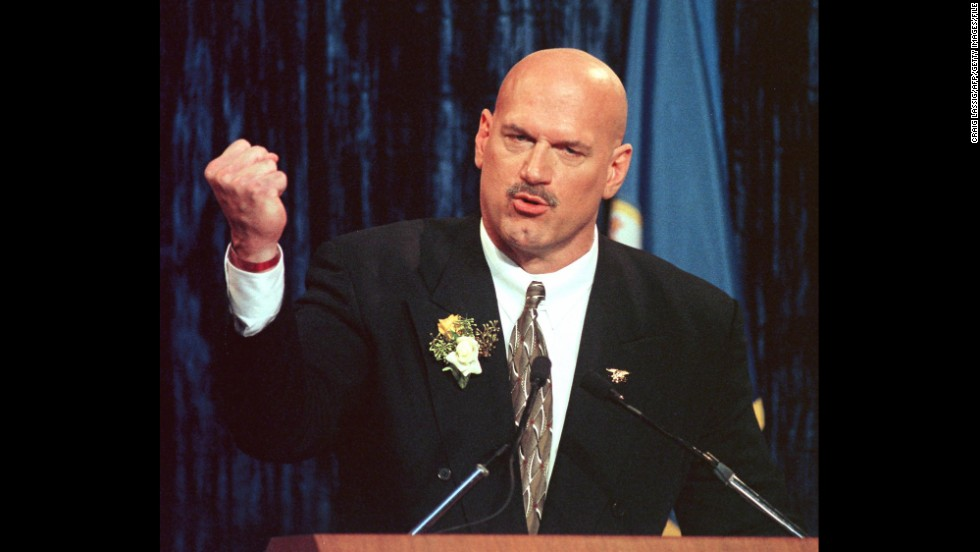 Former wrestler Jesse Ventura was governor of Minnesota from 1999 to 2003.