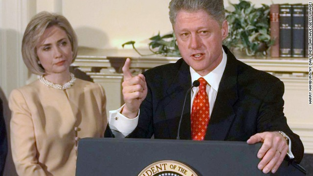 UNITED STATES - JANUARY 26:  President Clinton with First Lady Hillary Rodham Clinton speaking on Monica Lewinsky scandal in the Roosevelt Room at the White House.  (Photo by Harry Hamburg/NY Daily News Archive/Getty Images)