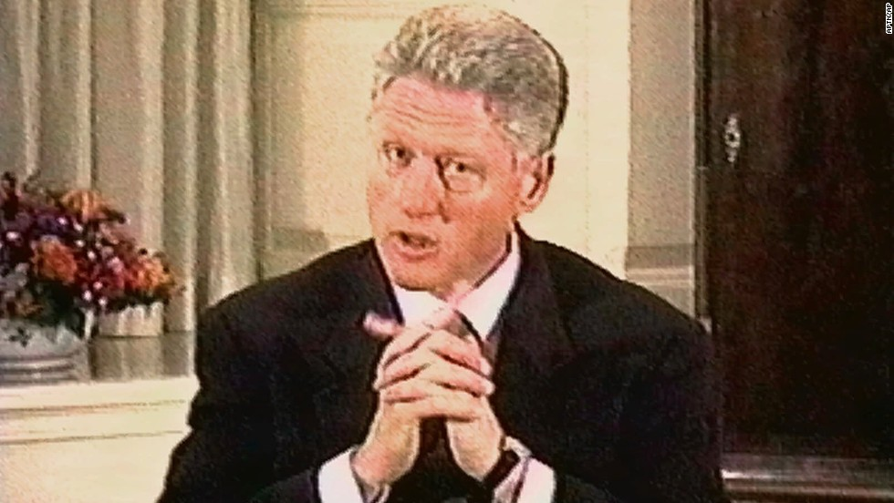 Clinton responds to a question during his grand jury deposition on August 17, 1998. The video was shown during a presentation by House members to the Senate on February 6, 1999, during the trial phase of impeachment proceedings.