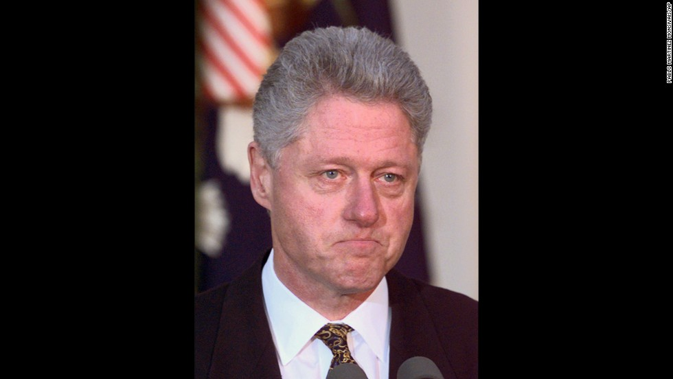 Clinton delivers a statement on the impeachment inquiry in the White House Rose Garden on December 11, 1998. Clinton apologized for his conduct and said he would accept a congressional censure or rebuke.