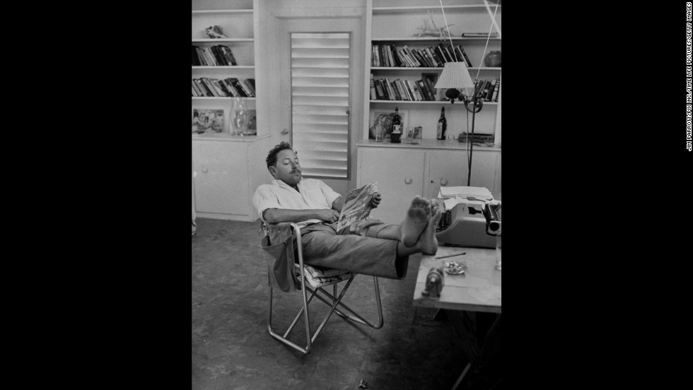 "Playwright Tennessee Williams, creator of ""The Glass Menagerie"" and ""A Streetcar Named Desire,"" relaxes at his home in this undated photo."