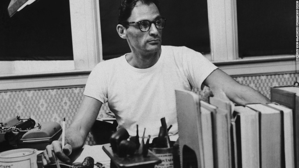 "Playwright Arthur Miller, creator of ""Death of a Salesman"" and ""The Crucible,"" is seen at his desk circa 1955."