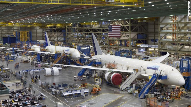 A file picture showing Boeing 787 Dreamliners on the assembly line in Everett, Washington.