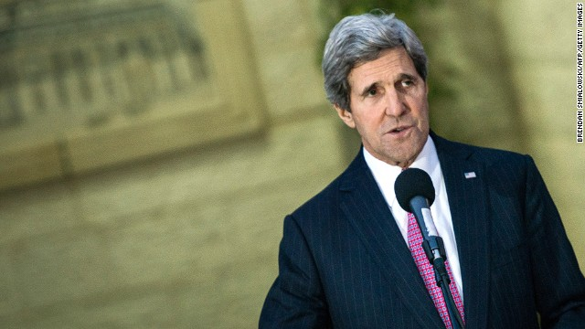 U.S. Secretary of State John Kerry speaks to the press after a meeting with the Palestinian president.