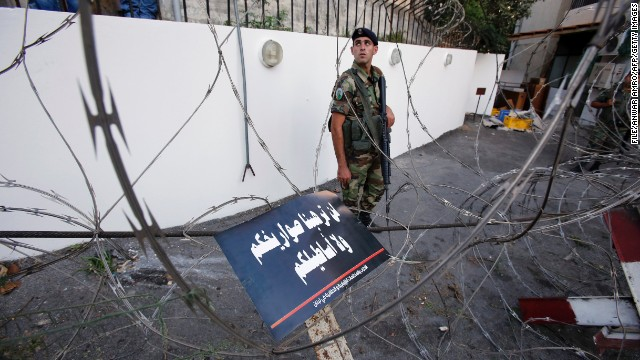 This file photo shows Lebanese soldiers blocking a road leading to the U.S. embassy in Beirut last year.