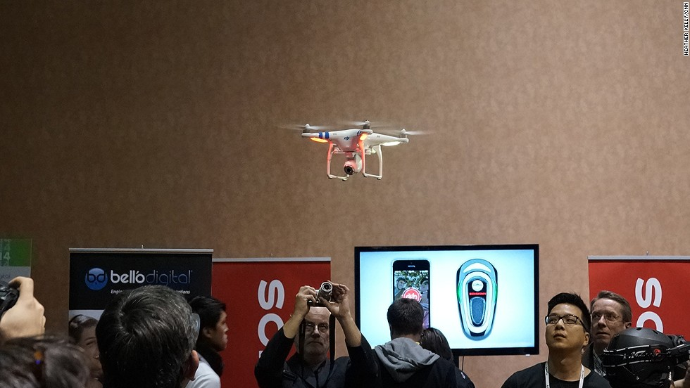 The Phantom 2 Vision drone from DJI Innovations has a built-in camera and a smartphone app, and can fly up to 400 feet into the air.