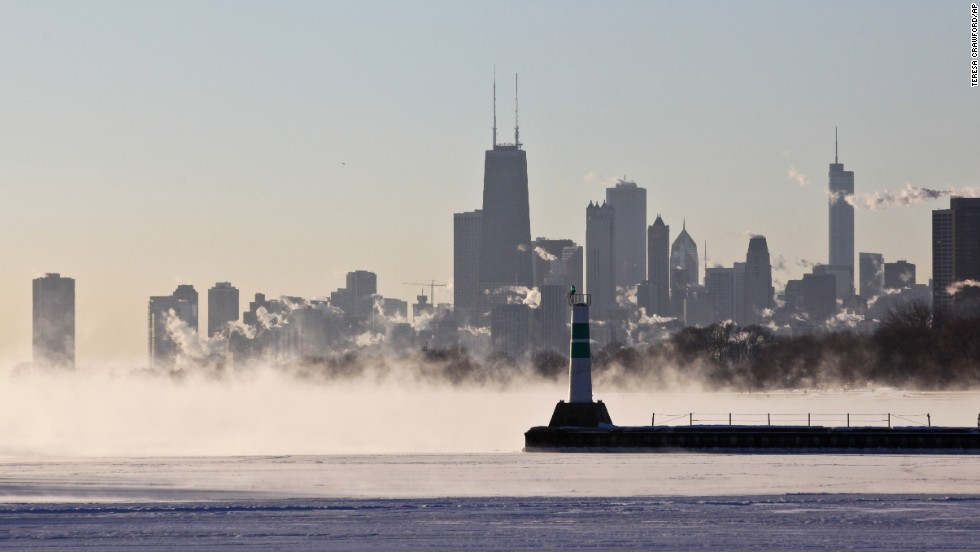A blanket of fog covers Lake Michigan along the Chicago shoreline January 6.