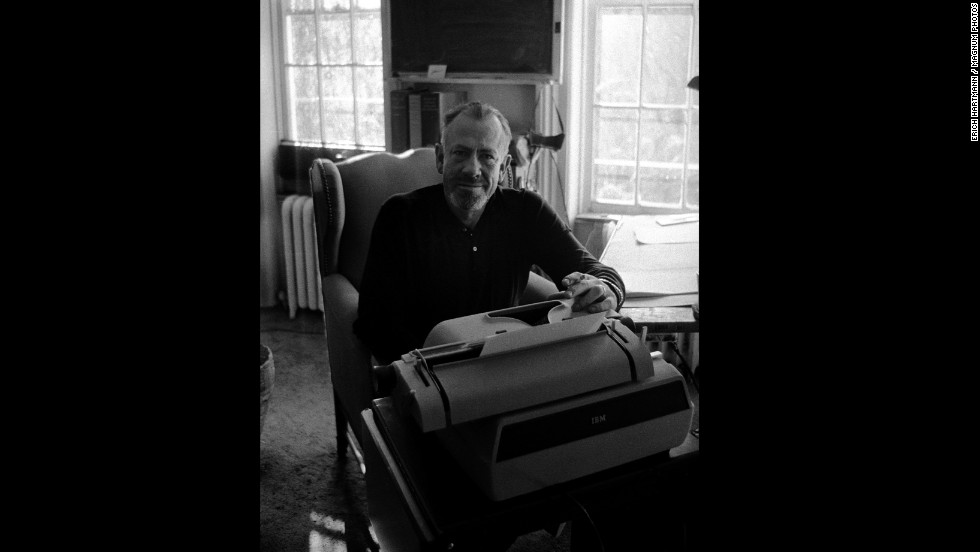 "John Steinbeck, who wrote ""The Grapes of Wrath"" and ""Of Mice and Men,"" is pictured at his New York home in 1958."