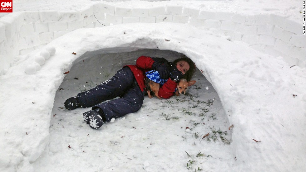 CNN iReporter Joy Lewandowski's son Matt plays in a snow fort built by kids on her street on January 5. School was canceled Monday.