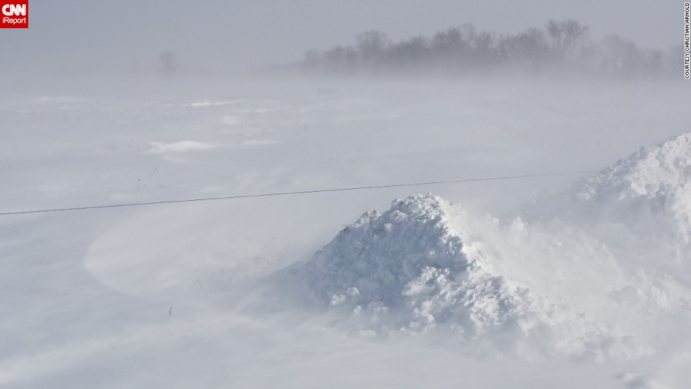 "Sixteen-year-old student Christian Arnold photographed a snowdrift in Indiana on January 6. ""This is the most dangerous winter weather I have ever witnessed,"" he said."