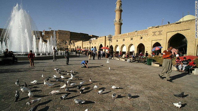A peaceful town square in the city of Erbil, northern Iraq.