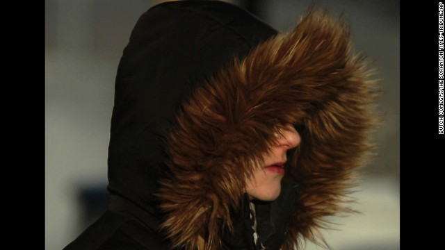 A woman braves the cold weather in Scranton, Pennsylvania, on Tuesday, January 7.