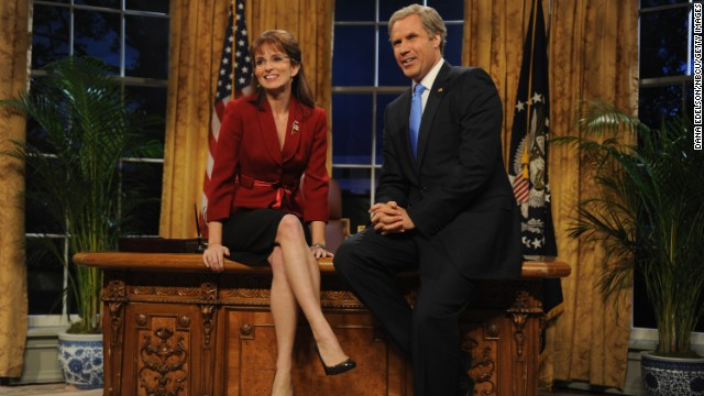 SATURDAY NIGHT LIVE WEEKEND UPDATE THURSDAY -- Episode 103 -- airdate 10/23/2008 -- Pictured: (l-r) Tina Fey as Governor Sarah Palin, Will Farrell as President George W. Bush --