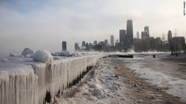 Ice builds up along Lake Michigan at North Avenue Beach as temperatures dipped well below zero on January 6, 2014 in Chicago, Illinois.