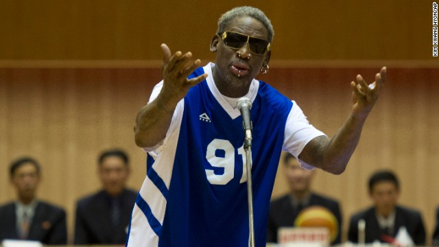 "Dennis Rodman sings happy birthday to North Korean leader Kim Jong Un before an exhibition basketball game between the North Korean team and ""Team Rodman"" in Pyongyang, North Korea, on Wednesday, January 8."