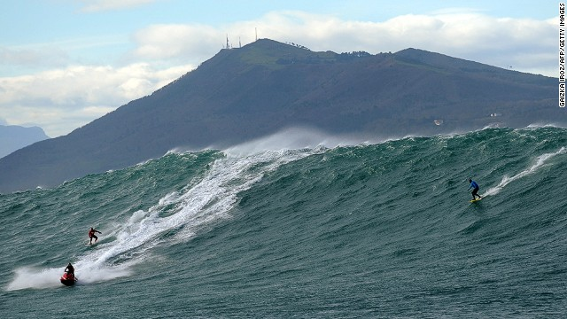 Surfers ride the storm in Europe