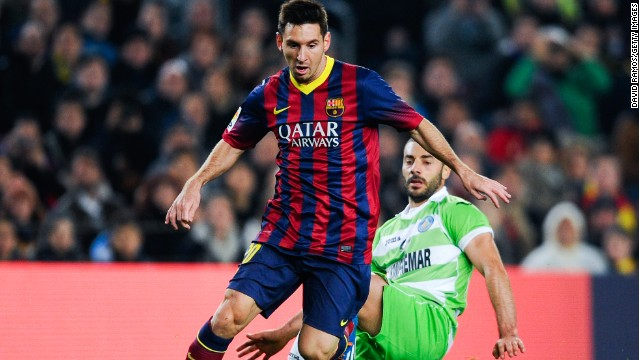Lionel Messi came off the bench and scored twice in Barcelona's 4-0 win over Getafe.