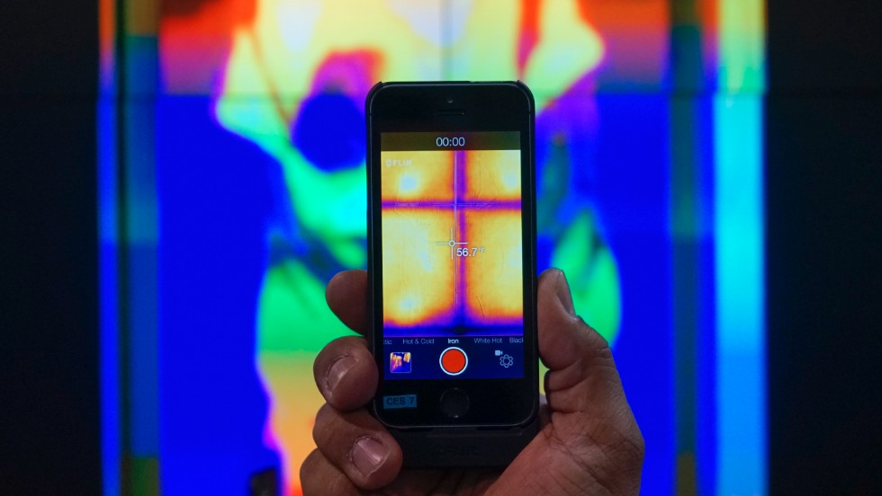 Flir One is a personal thermal imaging device for the iPhone 5. According to Flir's website, it can be used to see in the dark, observe heat sources, compare relative temperatures and see through smoke. It will be $349 and be available in spring 2014.