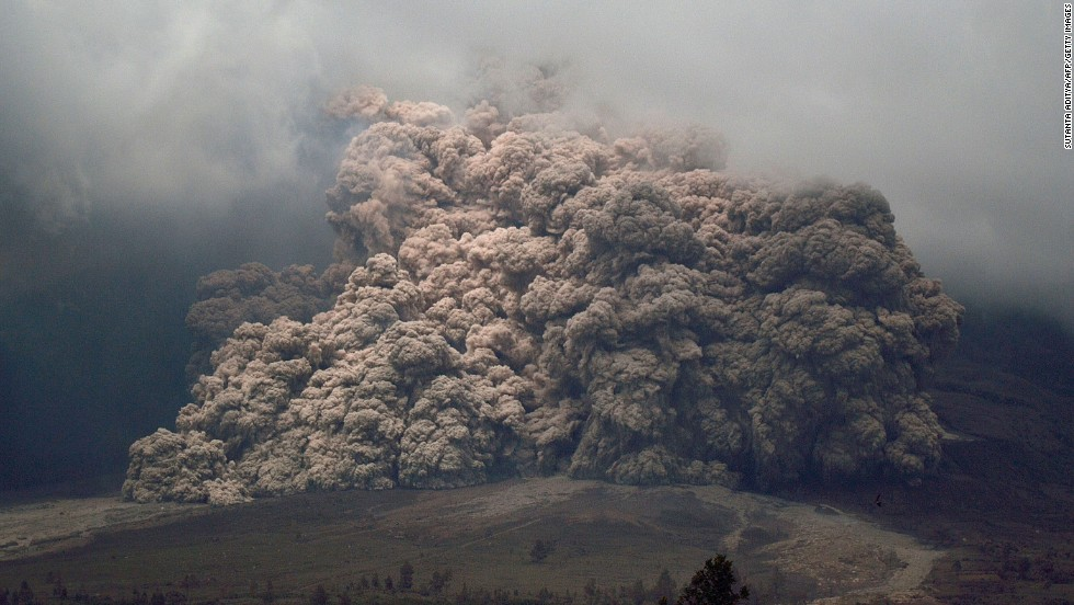 Mount Sinabung spews ash into the air on January 7.
