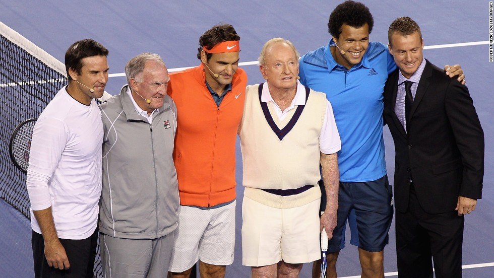 A host of stars turned out to raise money for the Roger Federer Foundation. From left to right, Pat Rafter, Tony Roche, Federer, Laver, Jo-Wilfried Tsonga and Lleyton Hewitt pose for the cameras.