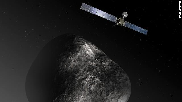 An artist's impression of the Rosetta spacecraft orbiting comet 67P/Churyumov Gerasimenko