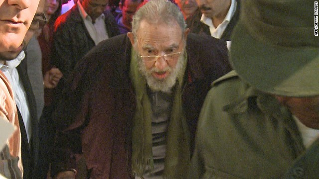 Still grab from a video taken on January 8, 2014 of former Cuban president Fidel Castro arrives for the inauguration of the nonprofit cultural centre Kcho Romerillo, Laboratory for Art in Havana. Cuban leader Fidel Castro has appeared in public for the first time in nine months, attending an art gallery opening near his home, the local press reported Thursday. The Cuban leader, who relinquished the presidency to his brother Raul in 2006 due to illness, last appeared in public in April when he opened a Havana school. AFP PHOTO / STR (Photo credit should read --/AFP/Getty Images)
