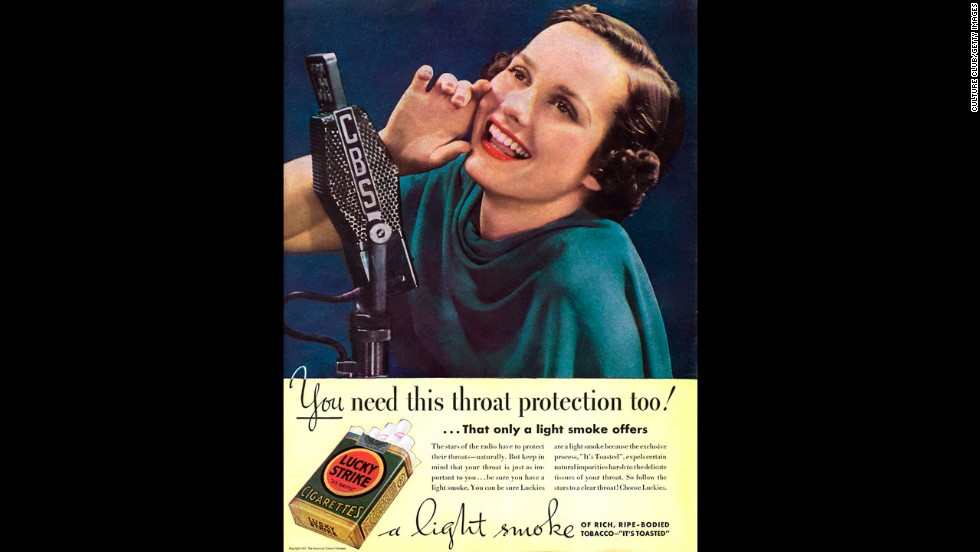 """This advertisement for Lucky Strike cigarettes says their """"light smoke"""" offers throat protection."""
