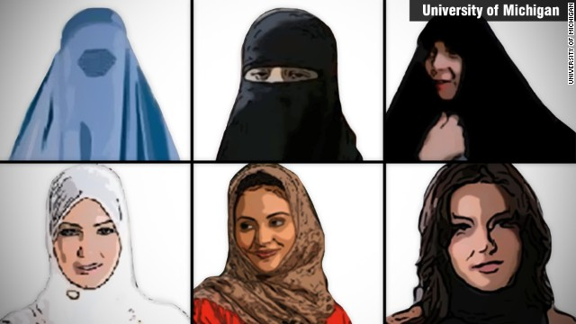 Researchers from University of Michigan showed people pictures of women with six different types of head covering and asked them which was the most appropriate way for women to dress in public.