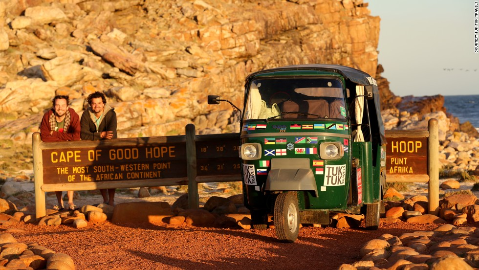 The two 28-year-olds from Guildford, Surrey, claim to be the first to drive a tuk tuk the length of Africa. From South Africa, they shipped their open-sided 395cc rickshaw to India.