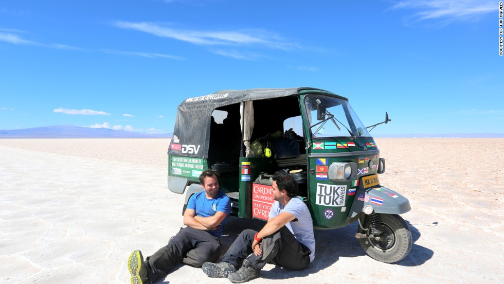 Teachers Nick Gough (right) and Richard Sears (leftt) set off on their global odyssey from London in August 2012 to raise awareness of global education issues. In December 2013, they crossed into Argentina -- the last country of their  42,120-kilometer journey.