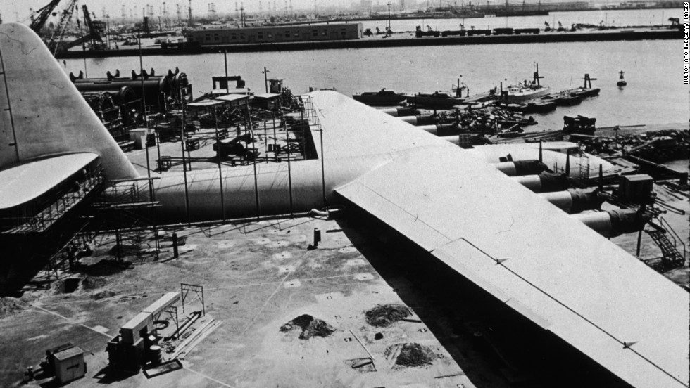 The H-4 Hercules, or Spruce Goose was a massive sea plane designed and built by American industrialist, aviator, and film producer Howard Hughes in 1947.