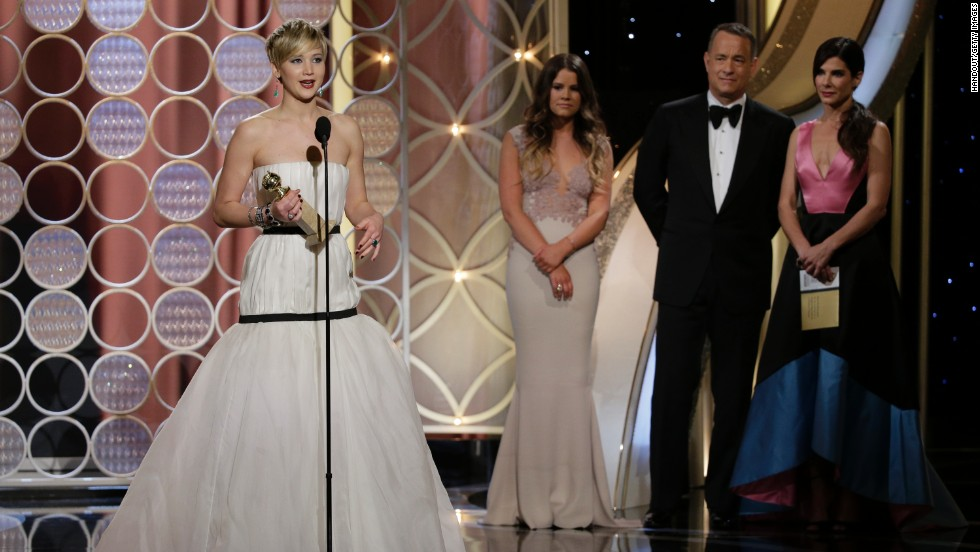 Lawrence accepts her award. The film also won best motion picture in the musical or comedy category.