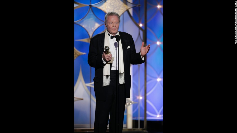"Jon Voight, who stars in the Showtime series ""Ray Donovan,""  accepts the award for best supporting actor in a series, miniseries or TV movie."