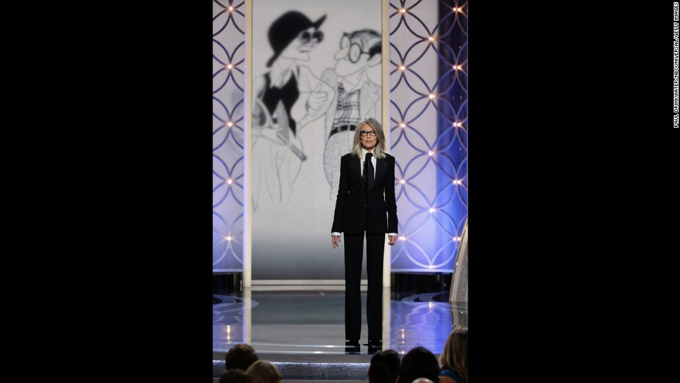 Diane Keaton accepts the Cecil B. DeMille Award on behalf of Woody Allen.