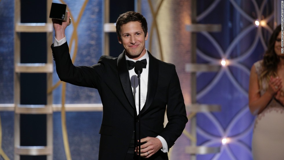 "Andy Samberg accepts the award for best actor in a comedy TV series. His show ""Brooklyn Nine-Nine"" also won best series in its category."