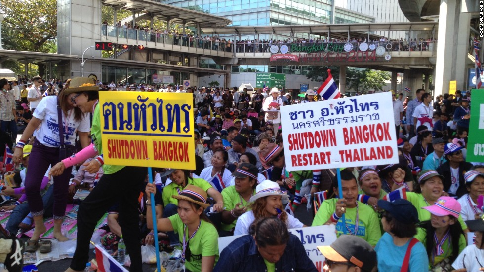 The protests in central Bangkok have so far remained relatively peaceful.