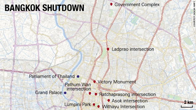 Map: Bangkok shuts down
