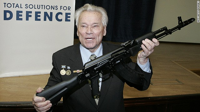 (FILES) -- A file picture taken on April 15, 2006 shows Mikhail Kalashnikov, Russian inventor of the fabled AK-47 assault rifle, holding an AK-103 while he poses for a picture after a press conference in Moscow. Kalachnikov died on December 23, 2013, aged 94, announced Russia's ITAR-TASS news agency. Kalashnikov designed a weapon that became synonymous with killing on a sometimes indiscriminate scale but was seen in the Soviet Union as a national hero and symbol of Moscow's proud military past. AFP PHOTO / MAXIM MARMURMAXIM MARMUR/AFP/Getty Images