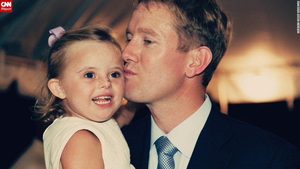 Ellie and her dad share a moment at the wedding.