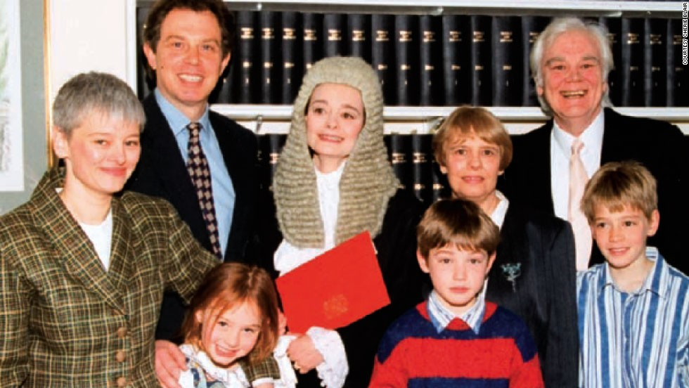 """As her spouse rose in the political ranks, Blair -- who professionally goes by her maiden name of """"Cherie Booth"""" -- carved out a successful career first as an attorney, then in 1995 (pictured here with her family) she received the senior advocate status of Queen's Counsel."""