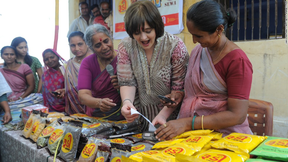 In 2008, she established the Cherie Blair Foundation for Women aimed at providing education and financial aid to female entrepreneurs internationally. With projects in Ghana, Tanzania and Rwanda, the foundation continues to empower local women with the necessary tools to enhance their businesses. Here Blair visits a women's initiative center in India in March 2013.