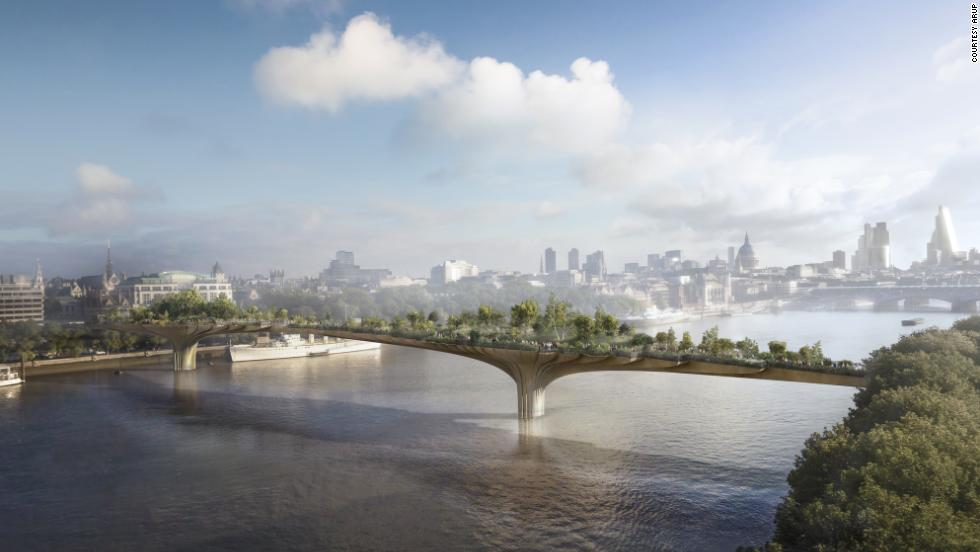 "There are already over 30 bridges across London's River Thames, but this new project may be the most ambitious yet: designer <a href=""http://www.heatherwick.com/"" target=""_blank"">Thomas Heatherwick's</a> plant-covered Garden Bridge comes with a $275 million price tag. <br /><a href=""http://edition.cnn.com/2014/01/16/world/leonardo-dicaprio-inspired-london-bridge-park/""><br />According to Wired</a>, Heatherwick was inspired by the scene in ""Titanic"" when Leonardo DiCaprio took Kate Winslet to the bow of the ship and yelled ""I'm the king of the world!"" Small balconies along the length of the bridge will allow couples looking to reenact the scene.<br /><br />Construction is set to commence this year, with completion slated for late 2018."