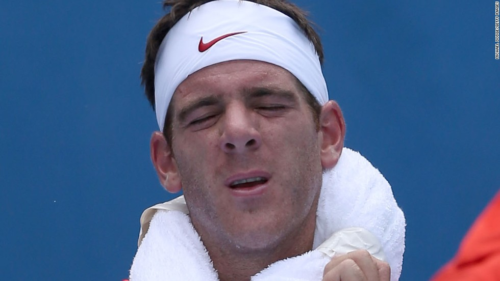 Playing early in the day on Tuesday, Argentina's Juan Martin del Potro felt the heat during his win over American Rhyne Williams.