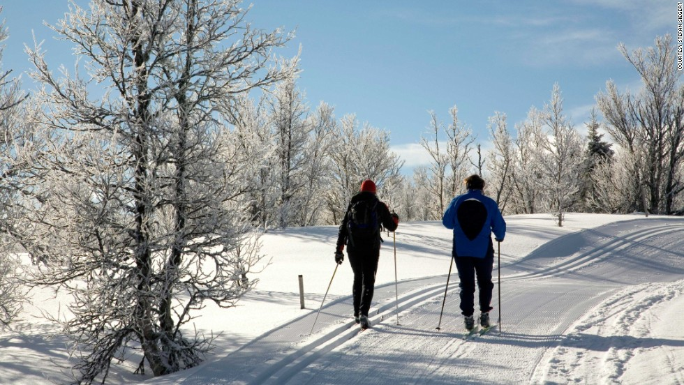 Cross-country skiing along the well-groomed Peer Gynt Trail in south-central Norway involves inspiring views of the Jotunheimen and Rondane mountains and Lake Gala. See? Exercising outdoors is lovely.