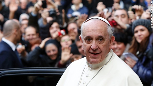 Pope Francis leaves Rome's Jesus' Church on Friday, January 3, 2014.
