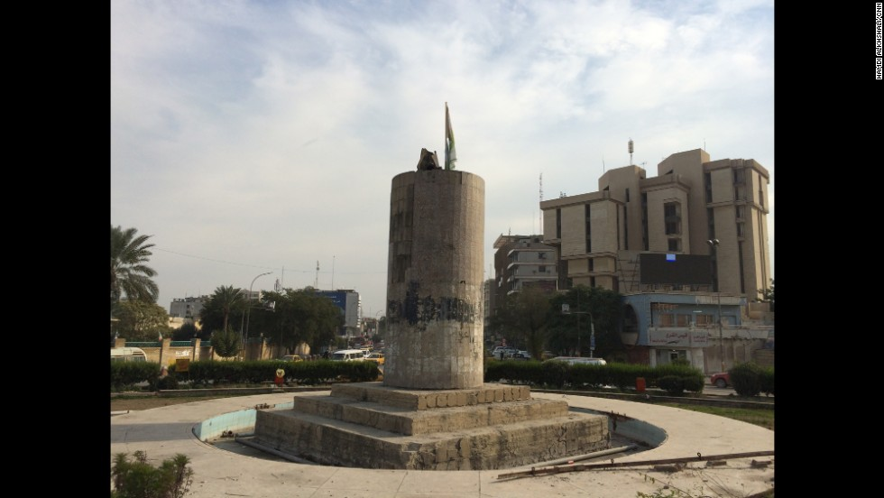 CNN's Hamdi Alkhshali says the pole of Saddam Hussein's famous statue is still standing 11 years after the U.S. invasion in  2003.