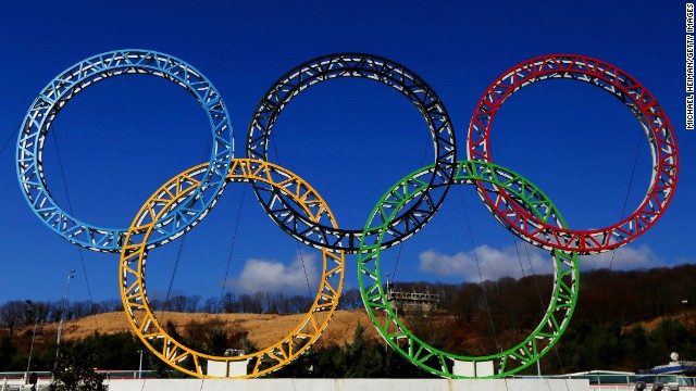 The Olympic Rings stand outside of Sochi International Airport on January 8, 2014 in Alder, Russia. The region will host the Sochi 2014 Winter Olympics which start on February 6th, 2014.