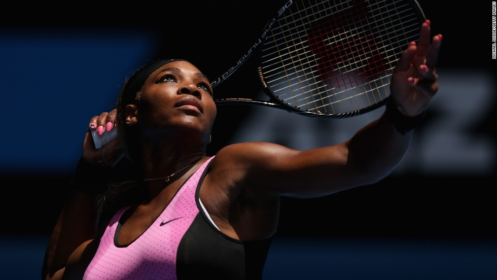 Serena serves on a sunny day at Flushing Meadows, New York.