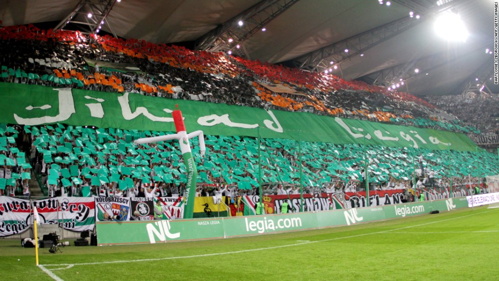 "This banner was held aloft by Legia Warsaw fans during the game with Hapoel Tel Aviv. The banner, which had the Arabic word ""Jihad"" emblazoned on it, was used to incite visiting supporters."