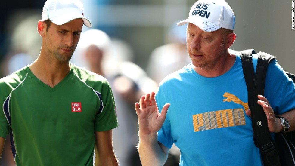 Becker (right) in conversation with Djokovic at the 2014 Australian Open in Melbourne, where he lost in the quarterfinals. The 46-year-old German is one of several former grand slam champions to recently take up a coaching role with a top player.